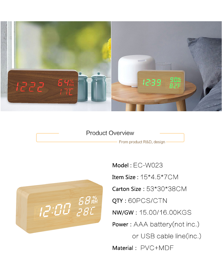 alarm clock with temperature and humidity