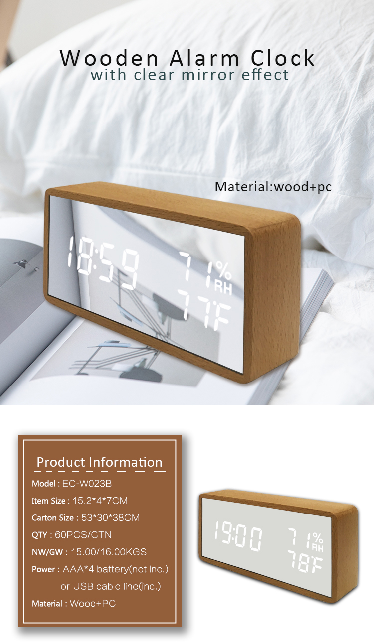 White mirror alarm clock humidity temperature