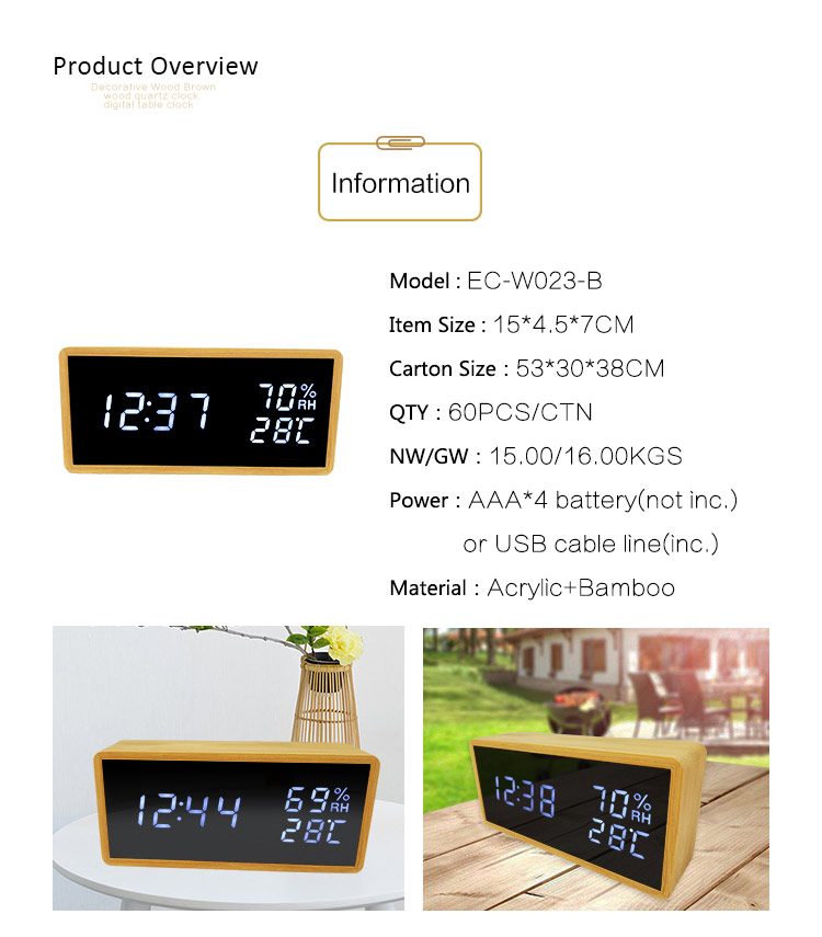 temperature humidity alarm clock