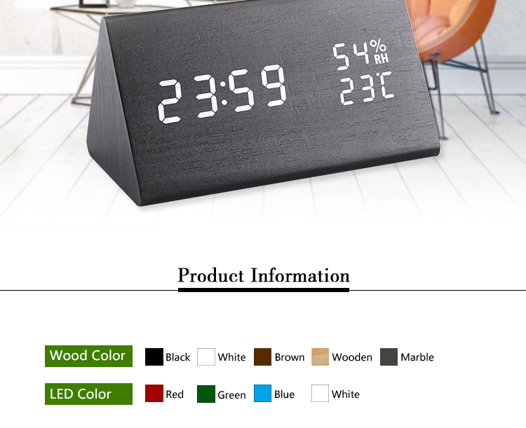 humidity and temperature table alarm clock silent wood clock