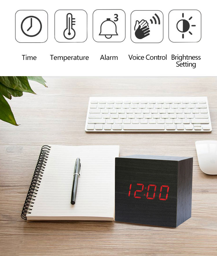 multifunction wooden digital table clock