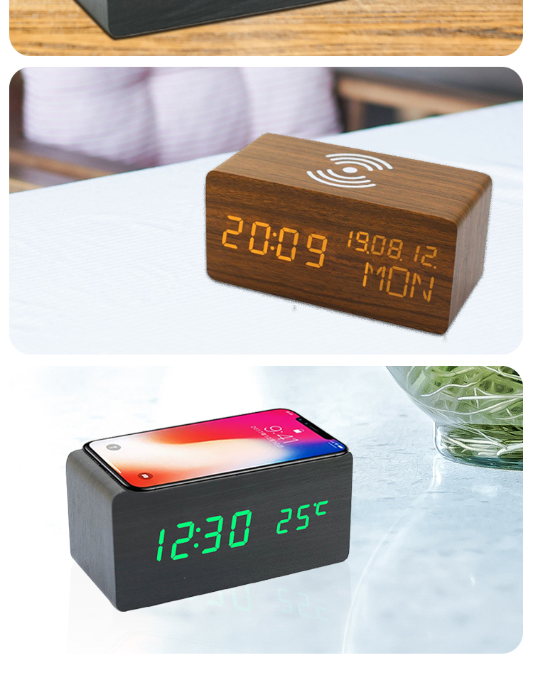 woodend table clock wireless charging