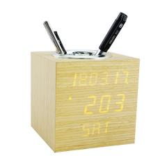 Backnight Wooden alarm clock Pen Holder with carlendar week display
