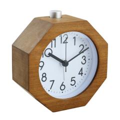 Octagonal wood frame silent quartz sweep movement desk clock