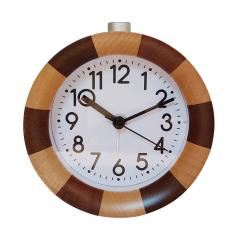 Round shape wooden silent quartz  desk clock with backlight