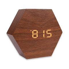 Hexagon sound sensor digital wood alarm clock hotel clock