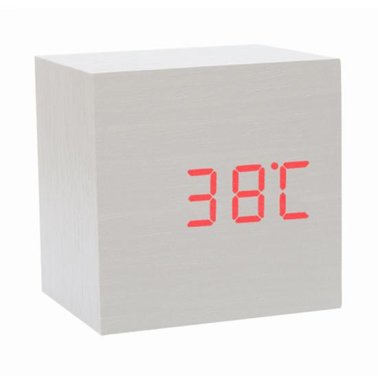 mini digital wooden alarm clock luminous voice control table clock