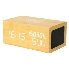 bluetooth speaker with wireless charger and alarm clock with calendar and week